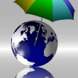 Earth and umbrella — Stock Photo
