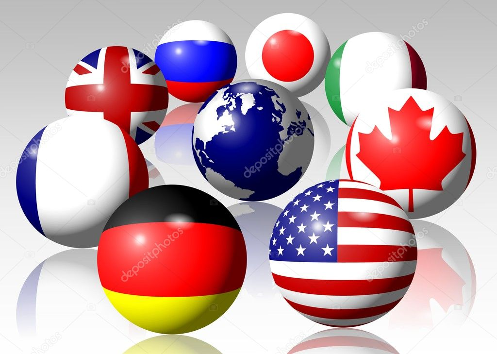 Flags of all G8 group members surrounding Earth  Stock Photo #8571513