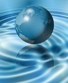 Blue Earth on water — Stock Photo