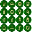 Green ecological icons - Stock Photo