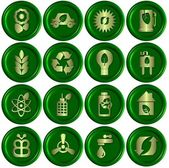 Green ecological icons — Stock Photo