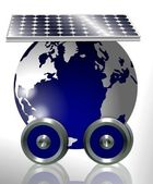 Earth and solar panel — Stock Photo