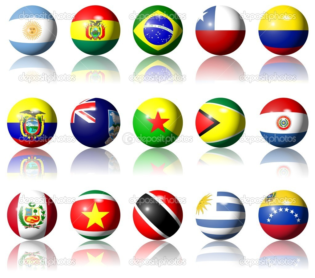 A collection of South American flags shaped as spheres — Stockfoto #8698255
