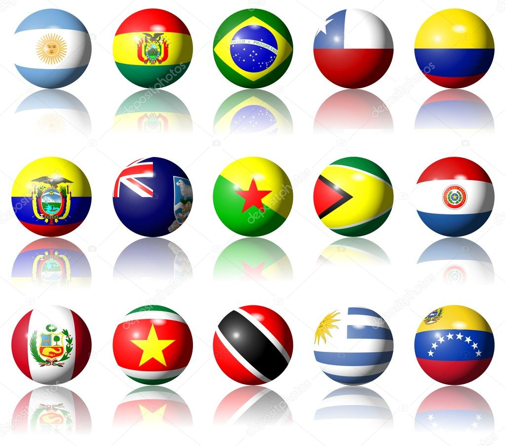 A collection of South American flags shaped as spheres  Lizenzfreies Foto #8698255