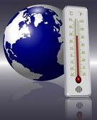 Thermometer and Earth — Stock Photo