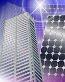 City and solar panels — Stockfoto