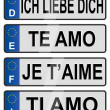 European number love plates — Stock Photo