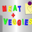 Meat and vegetable fridge magnets - Stock Photo