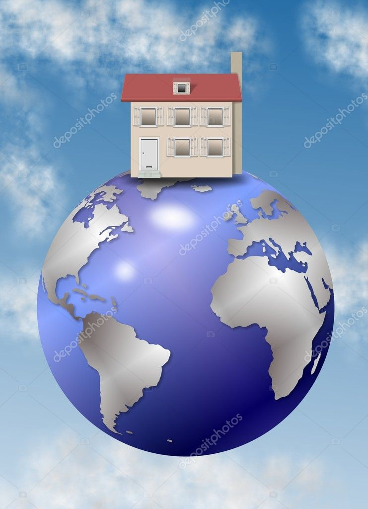 A house positioned on the top of the world  Stock Photo #9788927