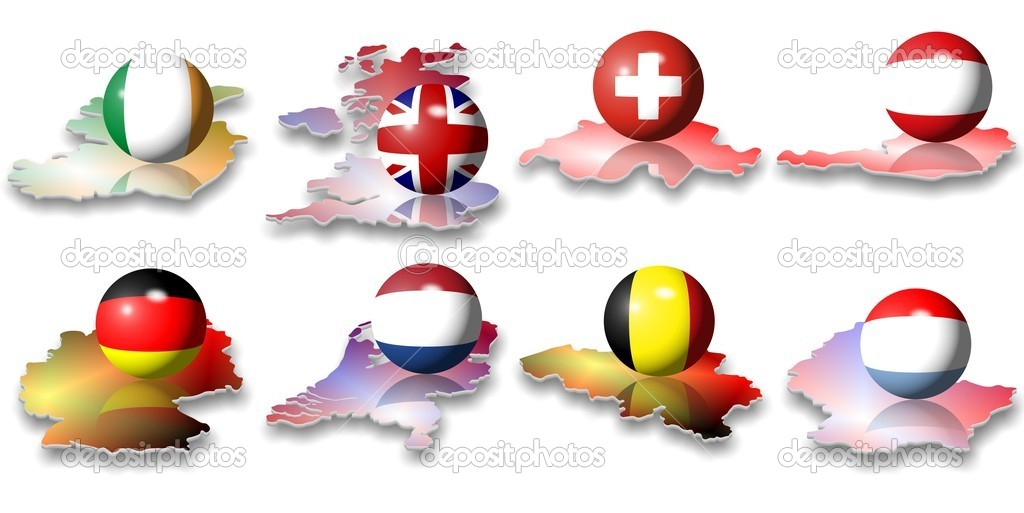 Eight European flags in a shape of a ball — Stock Photo #9876200