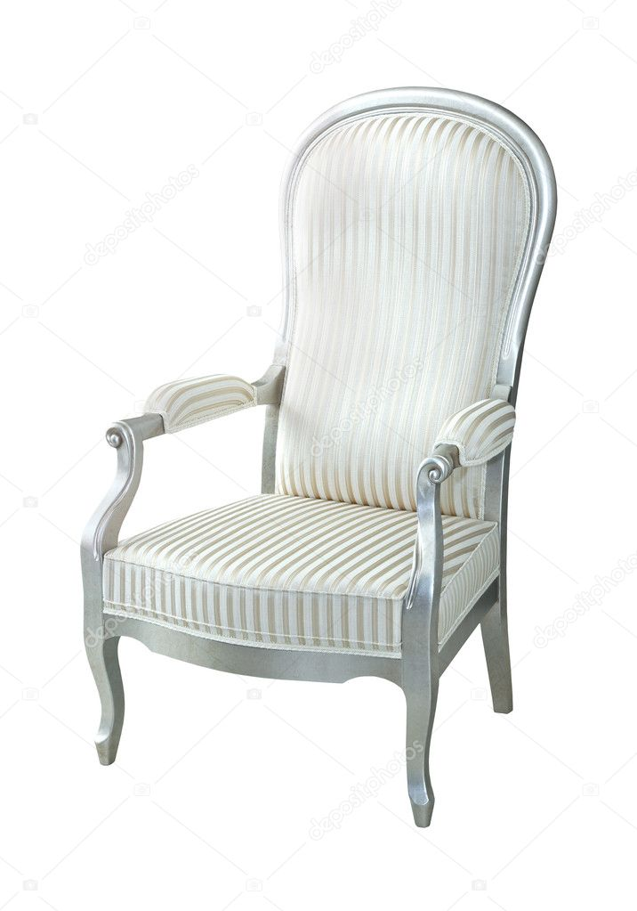 Vintage silver chair isolated with clipping path included — Stock Photo #8852615