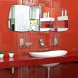 Red bathroom wall — Stock Photo #9102322