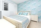Blue bedroom — Stock Photo