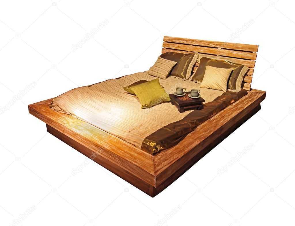 Vintage etno style wooden bed isolated with clipping path included  Stock Photo #9728004