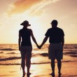 Senior Couple Enjoying Sunset at the Beach — Stock Photo #10045563