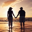 Royalty-Free Stock Photo: Senior Couple Enjoying Sunset at the Beach
