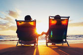 Happy Romantic Couple Enjoying Beautiful Sunset at the Beach — Stock Photo