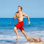 Runner on Beach — Stock Photo