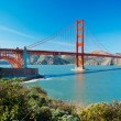 The Golden Gate Bridge in San Francisco with beautiful blue ocea - Stock Photo