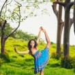 Beautiful Woman Practicing Yoga Outside in Nature — Stock Photo