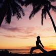 Silhouette of a Beautiful Yoga Woman at Sunset — Stock Photo #10560635