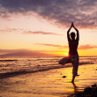 Silhouette of a Beautiful Yoga Woman at Sunset — Stock Photo