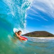 Boogie Boarder Surfing Amazing Blue Ocean Wave — Foto de Stock