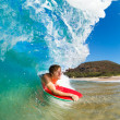 Stock Photo: Boogie Boarder Surfing Amazing Blue Ocean Wave