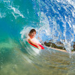 onda incrível do mar azul de boogie boarder surf — Foto Stock