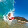 Boogie Boarder Surfing Amazing Blue Ocean Wave — Stock Photo #10561036