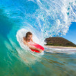 Boogie Boarder Surfing Amazing Blue Ocean Wave — Stock Photo