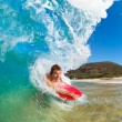 Stock Photo: Boogie Boarder Surfing Amazing Blue OceWave