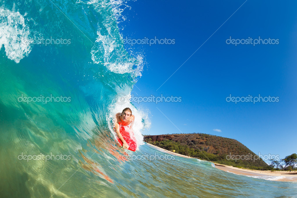 Boogie Boarder Surfing Amazing Blue Ocean Wave — Stock Photo #10561120