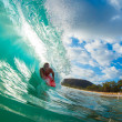 Stock Photo: Body Boarder Surfing Blue Ocean Wave