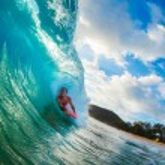 Body Boarder Surfing Blue Ocean Wave — Stock Photo