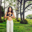 Stock Photo: Yoga woman outside in nature