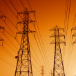 Electric Power Transmission Lines at Sunset - Stock Photo