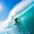 Surfer On Blue Ocean Wave — Stock Photo #8450798