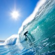 Surfer On Blue Ocean Wave — Stockfoto