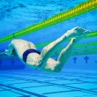 Swimmer in the Pool Underwater - Stock Photo