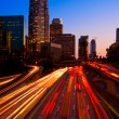 Los Angeles, Urban City at Sunset with Freeway Trafic — Foto de Stock