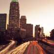 Los Angeles, Urban City at Sunset with Freeway Trafic — Stock Photo #8453182