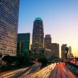 Los Angeles, Urban City at Sunset with Freeway Trafic — Stock Photo #8453214