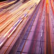 Foto de Stock  : Freeway Traffic at Night, Motion Blur