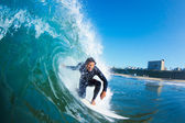 Surfer On Blue Ocean Wave — Stock Photo