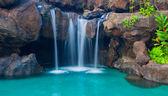 Waterfall into Resort Pool — Stock Photo