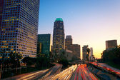 Los Angeles, Urban City at Sunset with Freeway Trafic — Stock Photo