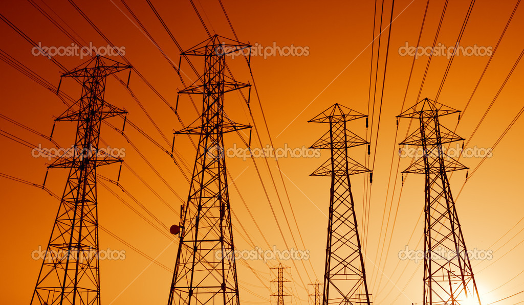 Electric Power Transmission Lines at Sunset — Stock Photo #8450485