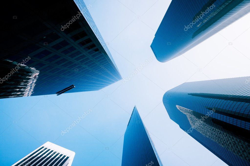 Sky Scrapers, Urban Buildings and Blue Sky  Stock Photo #8453125