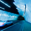 Urban Tunnel, Car moving with Motion Blur — Foto Stock